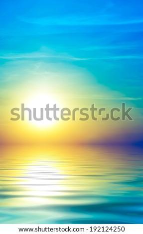 Soft sea sunset. Abstract style - stock photo