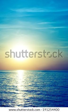 Soft sea sunset. Vintage style - stock photo