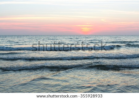 Soft sea wave in the evening.