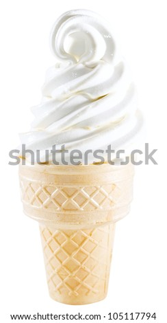 soft serve ice cream isolated on white background - stock photo