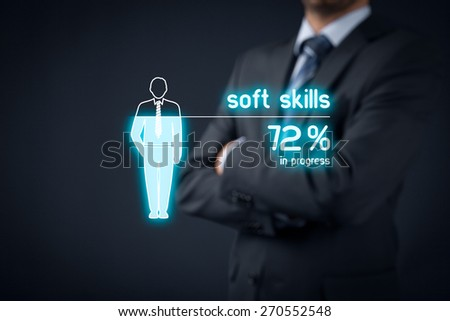 Soft skills training in progress. Visual metaphor - manager improve his soft skills. - stock photo
