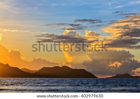 Soft sunset inThe Indian Ocean, Seychelles, LaDigue island - stock photo