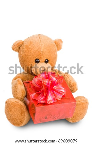Soft Teddy Bear keeps red present. Over white - stock photo