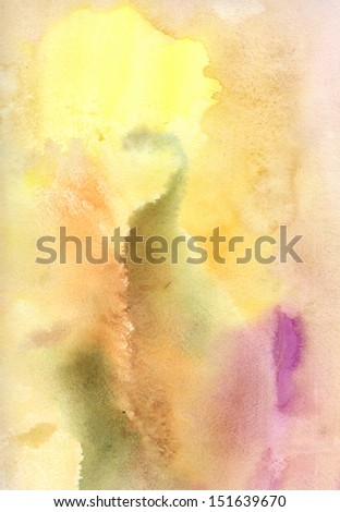 soft textured with warm colors watercolor background on wet paper