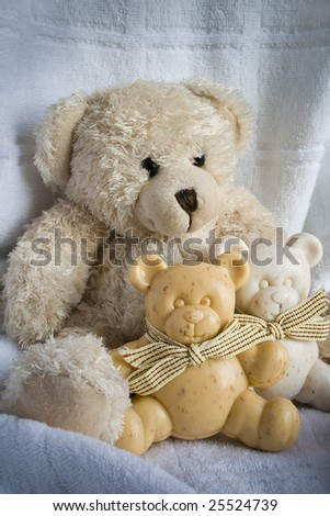 Soft toy the bear and soap bears on a white background