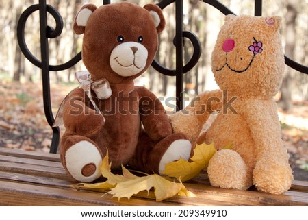 Soft toys cat with a bear on a bench in the park in autumn - stock photo