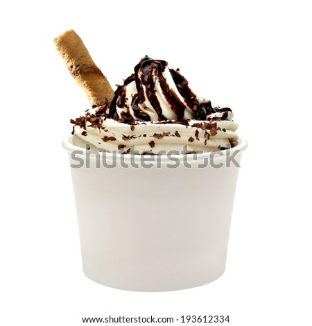 Soft vanilla ice cream with chocolate sauce in blank paper cup - stock photo
