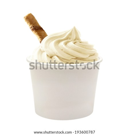 Soft vanilla ice cream with wafer in blank paper cup on white background