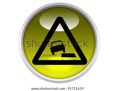 soft verges symbol on yellow glossy signage isolated over white background - stock photo