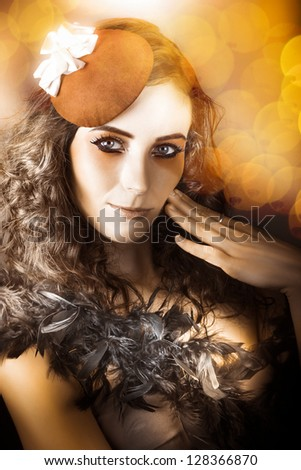 Soft Vintage Photograph Of An Actress Performing In Beautiful Makeup Wearing French Beret Hat On Bokeh Background - stock photo