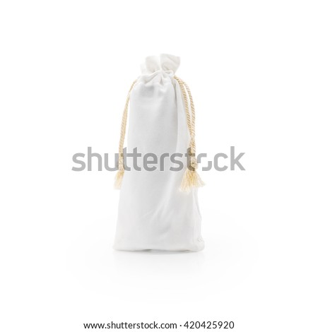 Soft white bag. Fabric bag. White fabric bag. Small fabric bag. Cloth bag. Burlap bag. Sackcloth bag. Canvas bag. Soft bag. Money bag. Save world bag. Minimal style bag. Bag and rope. Vintage bag. - stock photo