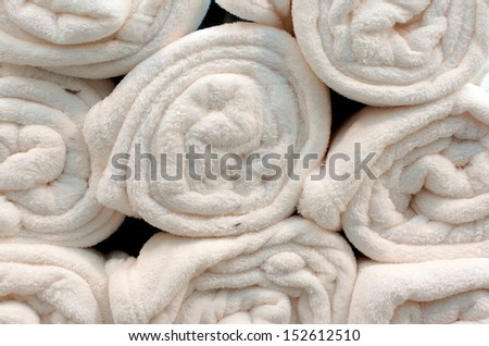 Soft white warm blankets - stock photo