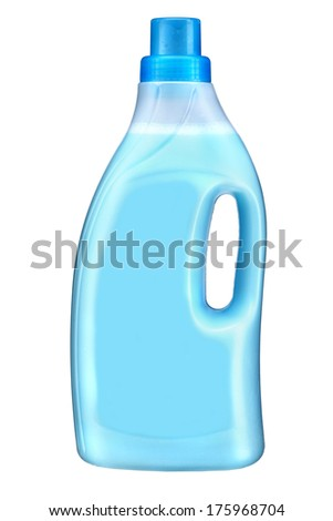 Softener bottle / studio photography of blue plastic bottle with liquid laundry detergent, cleaning agent, bleach or fabric softener - isolated on white background