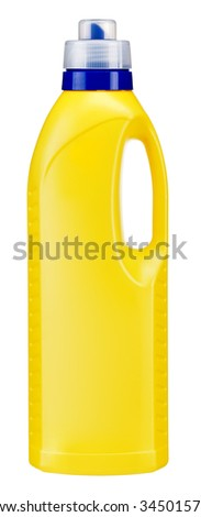 Softener bottle / studio photography of yellow plastic bottle with liquid laundry detergent, cleaning agent, bleach or fabric softener - isolated on white background - stock photo