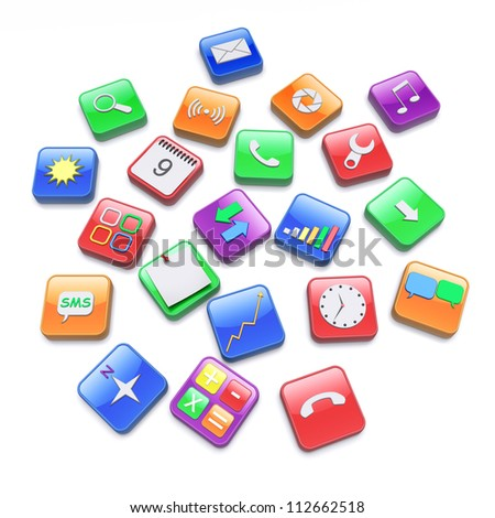 Software apps icons. 3d rendered image