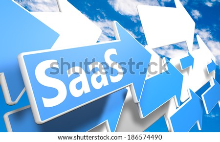Software as a Service 3d render concept with blue and white arrows flying in a blue sky with clouds - stock photo
