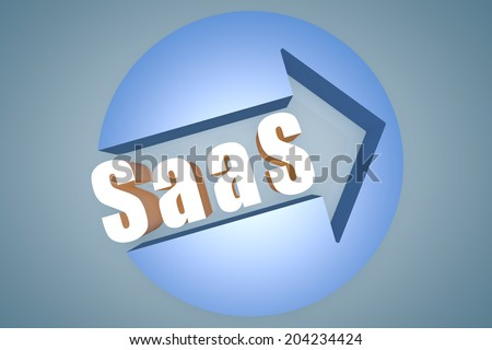 Software as a Service - text 3d render illustration concept with a arrow in a circle on blue-grey background - stock photo