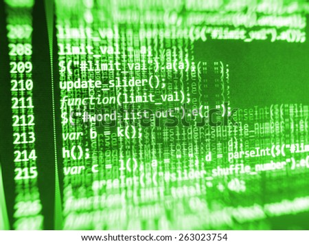 Software background coding screen of source code of developer programming language data. Script function on monitor display. Cyber abstract of web application. Stream of bits. Green color. - stock photo