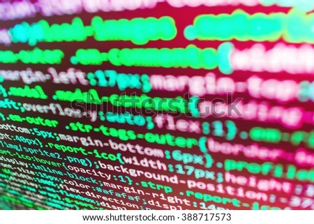 Software background. Programming code. Technology background.  Website codes on computer monitor. (Code is my own property there is no risk of copyright violations)
