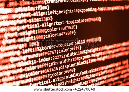 Software background.  Web site codes on computer monitor. Website programming code.  Programmer developer screen. Writing program code on computer. Programmer occupation. Programming code.