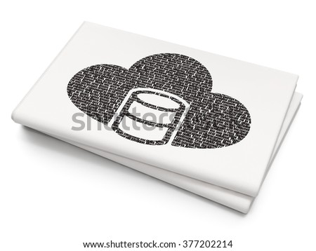 Software concept: Database With Cloud on Blank Newspaper background - stock photo