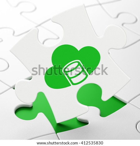 Software concept: Database With Cloud on White puzzle pieces background, 3D rendering - stock photo