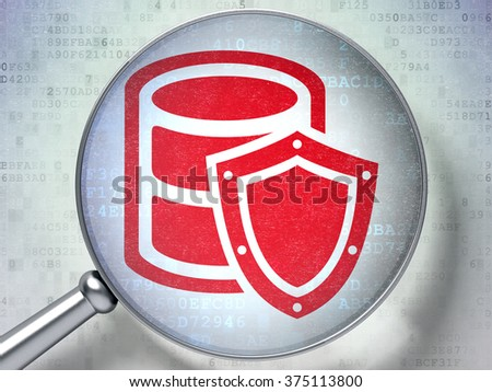 Software concept: Database With Shield with optical glass on digital background - stock photo