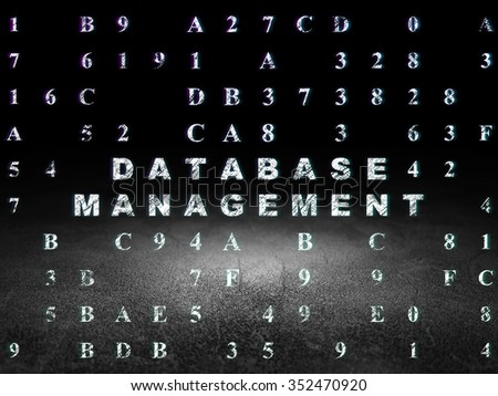 Software concept: Glowing text Database Management in grunge dark room with Dirty Floor, black background with Hexadecimal Code - stock photo