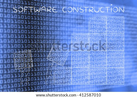 software construction: men lifting blocks with messy binary code, metaphor illustration