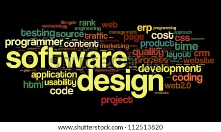 Software design concept in tag cloud on black background - stock photo