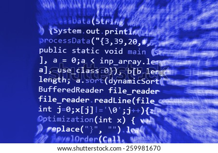 Software developer programming code. Abstract computer script code. Blue color.  - stock photo