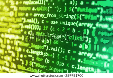 Software developer programming code. Abstract computer script code. Green, yellow color.  - stock photo