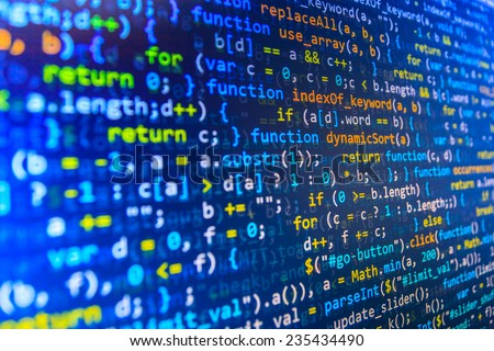Software developer programming code. Abstract computer script  code.  Selective focus. Blue color.  (MORE SIMILAR IN MY GALLERY) - stock photo