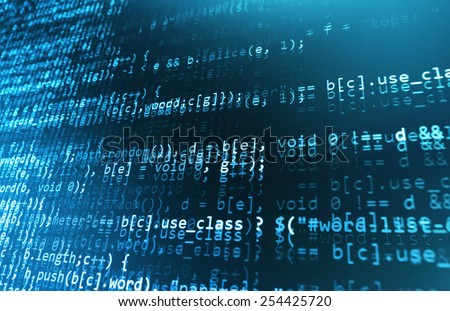 Software developer programming code. Abstract computer script code. Selective focus. Blue color. - stock photo