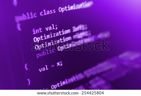 Software developer programming code. Abstract computer script code. Selective focus. Purple violet pink color. - stock photo