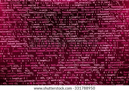 Software developer programming code. Abstract modern virtual computer script. Work of software developer programmer on desktop screen closeup. Online Internet cyberspace reality concept background - stock photo