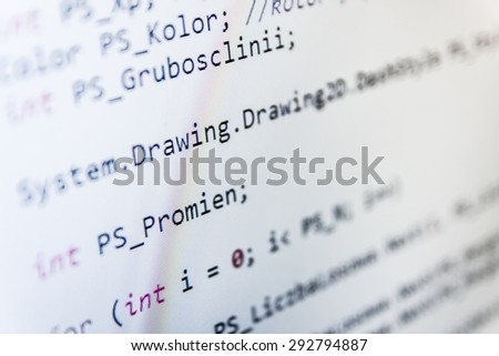 Software developer programming code on computer. Abstract computer script source code. Shallow depth of field, selective focus effect.  (MORE SIMILAR IN MY GALLERY)