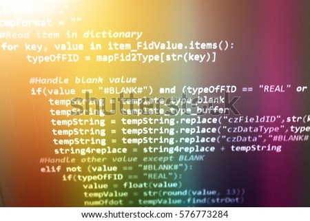 Software development by programmer. Abstract computer script code. Programming code screen of software developer. Application and Program code on a monitor. Code text created by myself.