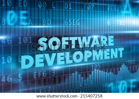 Software development concept blue text blue background - stock photo