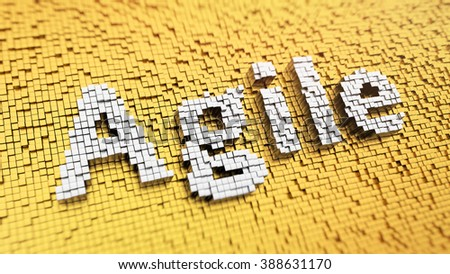 Software development methodology. Pixelated word Agile made from cubes, mosaic pattern. 3D illustration image - stock photo