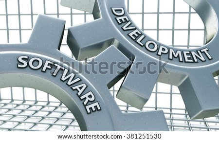 Software Development on the Mechanism of Metal Gears in the design of information related to the creation program - stock photo