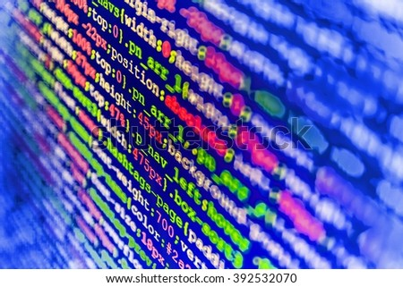 Software development. Technology background. Developer working on program codes in office. Computer script.  Developer working on websites codes in office.   - stock photo