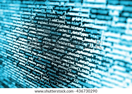 Software development.  Web site codes on computer monitor. Programming code. Programmer developer screen. Programming code on computer screen. Computer script.  Technology background.   - stock photo