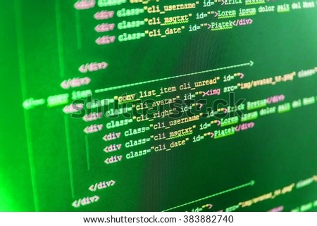 Software development.  Website development.  Website codes on computer monitor. Programmer occupation. (Code is my own property there is no risk of copyright violations) - stock photo