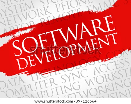 Software development word cloud concept - stock photo