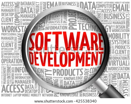 Software development word cloud with magnifying glass, business concept 3D illustration - stock photo