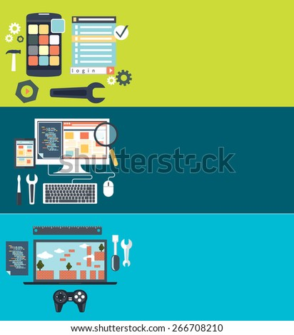 Software development workflow process coding testing analysis flat design. Testing video games. Game development concept with icons. Repairing mobile phone concept. Crash test phones. Raster version - stock photo