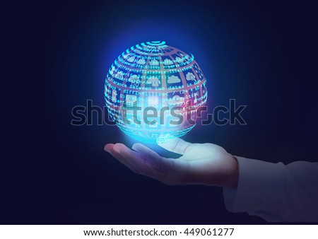 Software engineer holding technology icons and Code in Globe shape. this also represents a business man owning Information technology services in hands, an analyst, architect reviewing design, debug