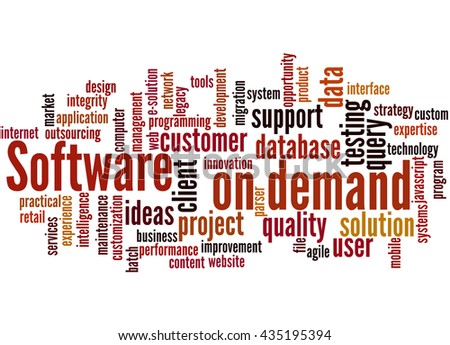 Software on demand, word cloud concept on white background. - stock photo