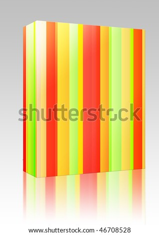 Software package box Colored bands of vertical striped lines illustration